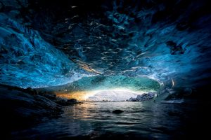 Sunrise inside Sapphire Ice Cave in Iceland